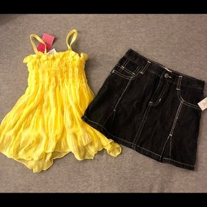 NWT Girls Size 4/4T 2 Piece Denim Skirt Outfit